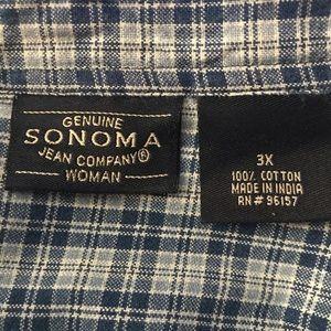 Sonoma Jean Company Woman Blue Plaid Shirt Size 3X